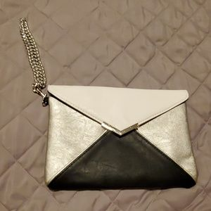 Black white and silver Express clutch
